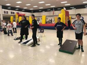 Teens played a variety of other games at the dodgeball tournament including corn hole