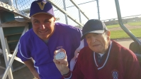 After the Vermilion Sailors 3-0 victory over the Huron Tigers, Coach Jeff Keck gave former Vermilion baseball coach Gene Nickley a baseball signed by the varsity team.